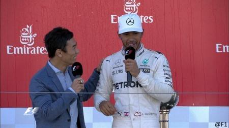 F1日本GPでハミルトンが琢磨とキャッキャウフフ