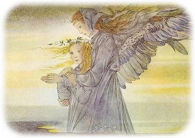 守護天使と手を