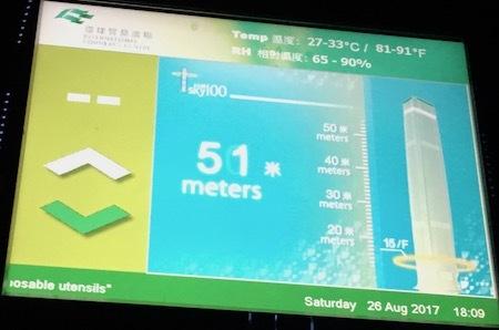 午後6時9分:SKY100のエレベーターが上昇しはじめました