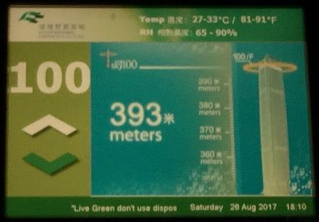 午後6時10分:SKY100のエレベーターが100階に到着