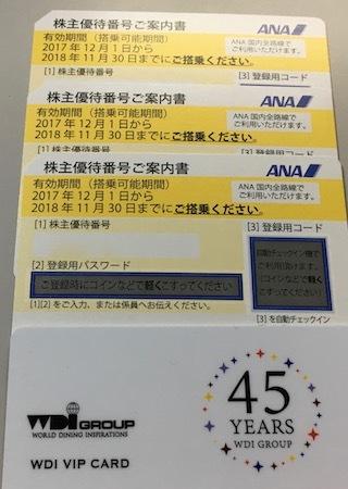 ANAHD 2017年9月権利確定分 株主優待券