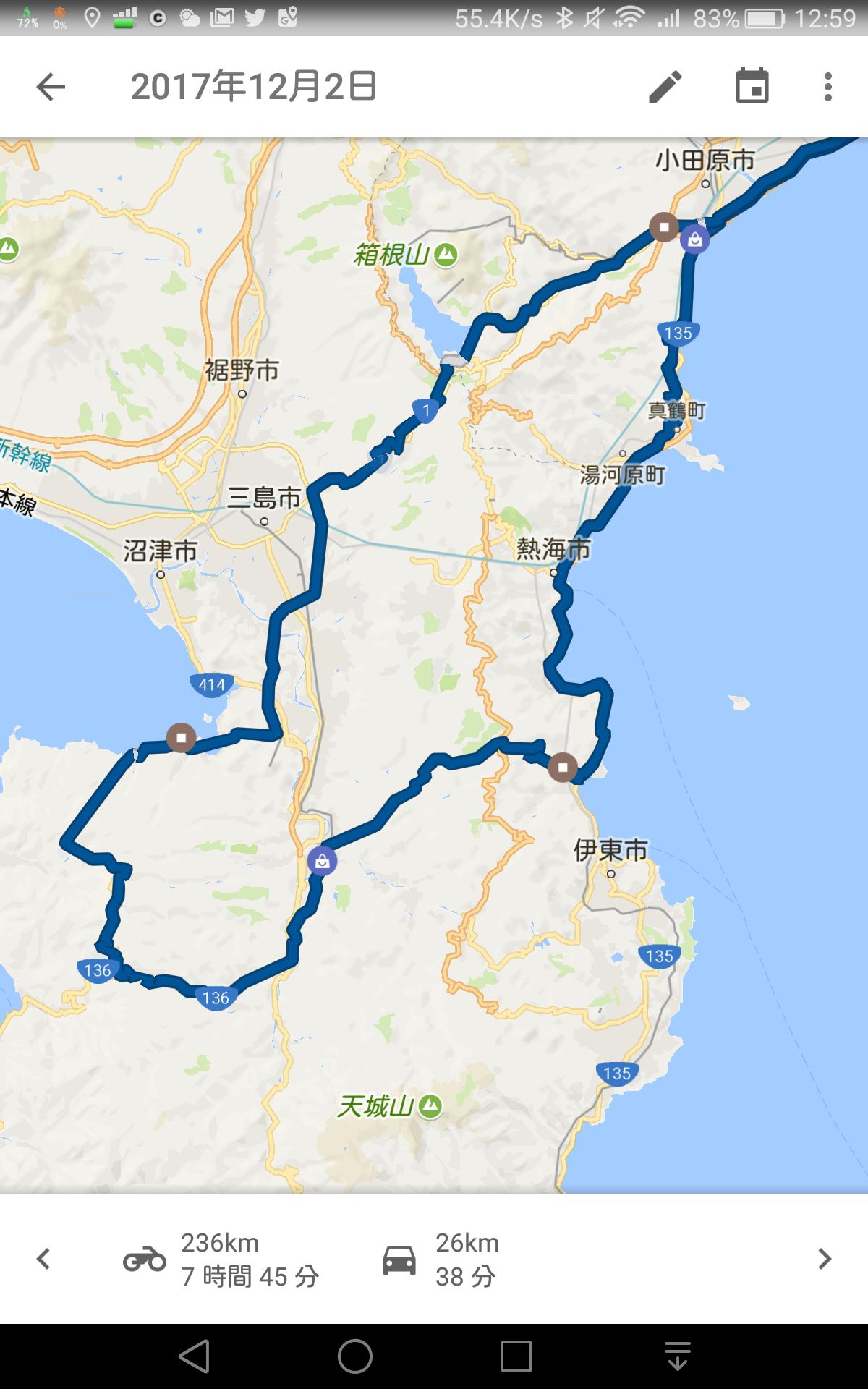 西伊豆スカイラインツーリング経路