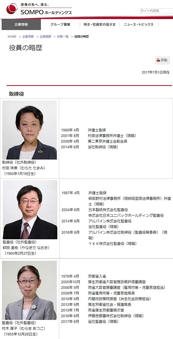 損保ジャパン日本興亜 役員弁護士 村木 厚子