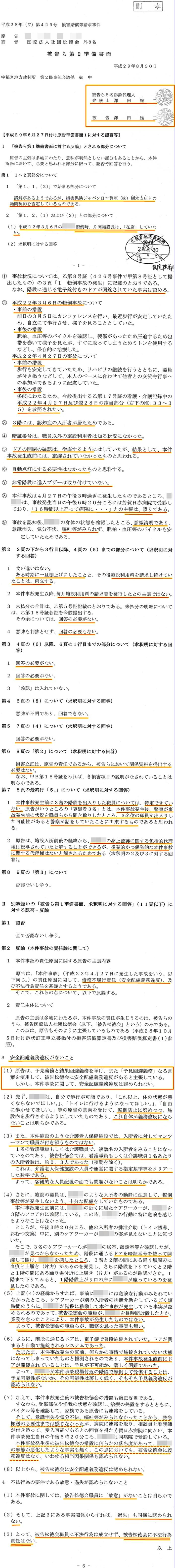 準備書面2 澤田雄二弁護士 うごうだ城 損保ジャパン日本興亜1