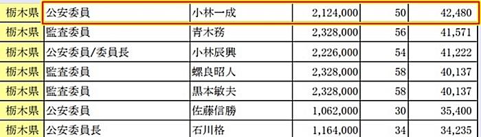 栃木県 行政委員報酬 小林一成 公安委員会 太平山