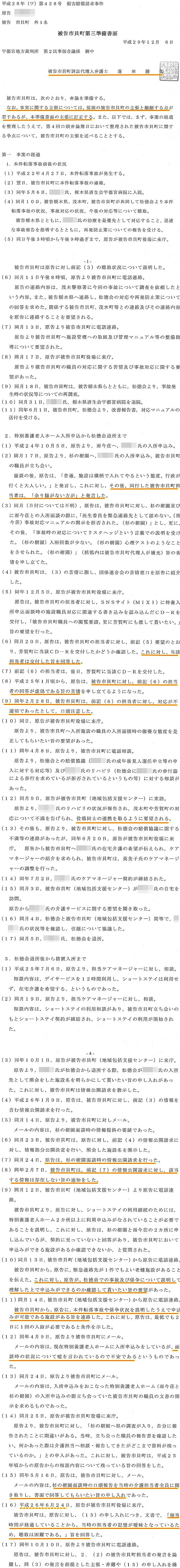 準備書面3 蓬田勝美弁護士 入野正明町長 市貝町 道の駅 サシバの里いちかい