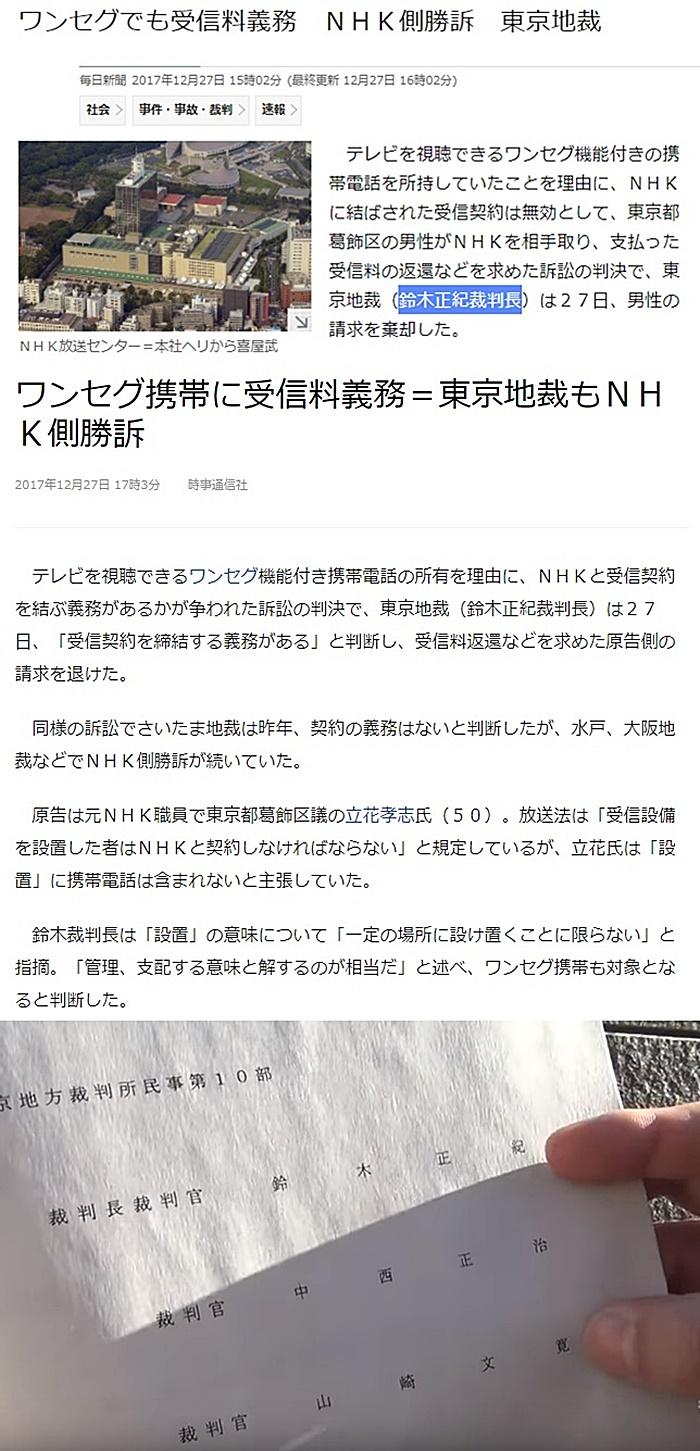 鈴木正紀裁判長 NHKワンセグ裁判 成年後見人賠償裁判