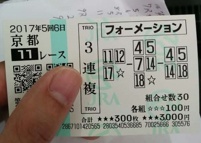 2017年11月19日京都11Rマイルチャンピョンシップ 9,300円