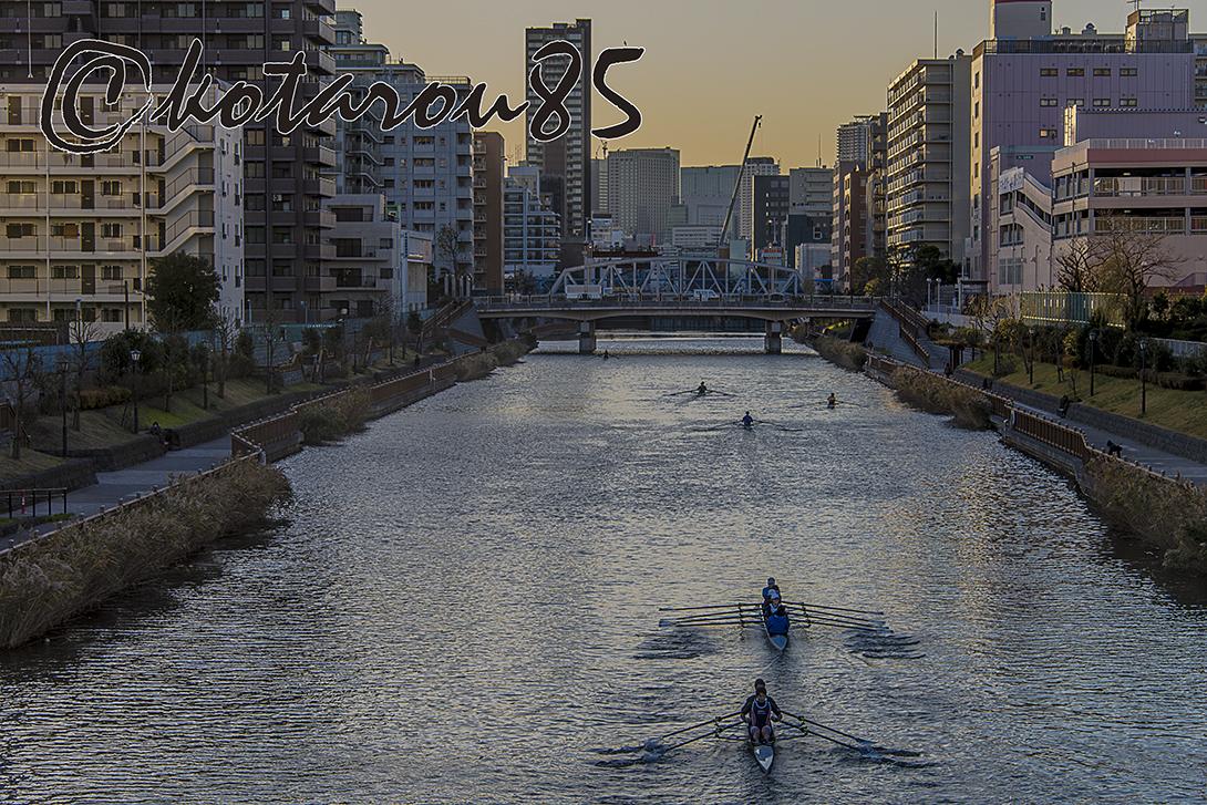 小名木川をすべるボート 20171222