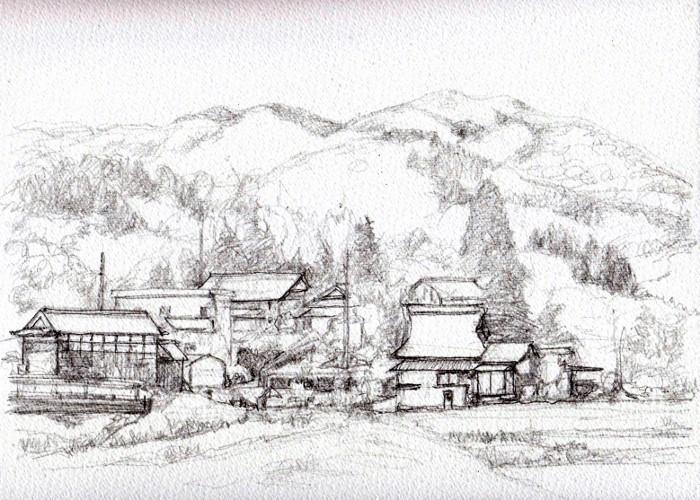 兵庫の民家 デッサン (700x500)