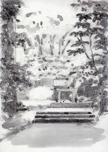 菩提寺の紅葉 グリザイユ (427x600)