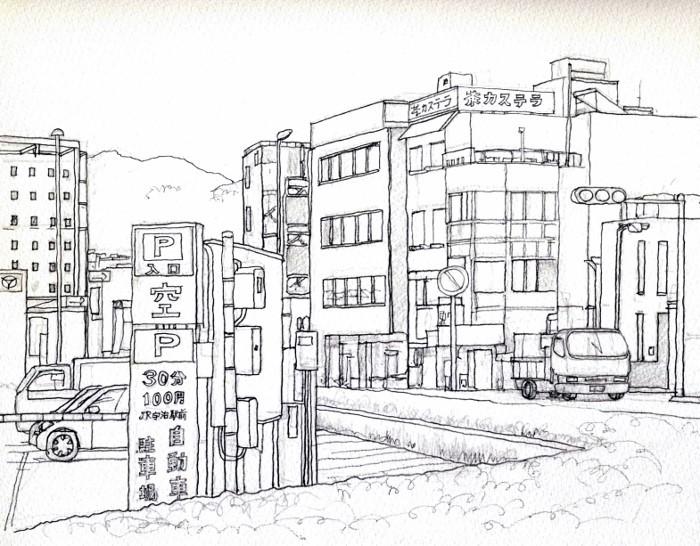 宇治市駅前 デッサン (700x546)