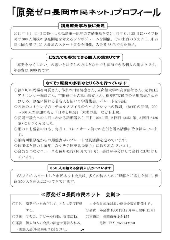 原発ゼロ長岡市民ネットプロフィール