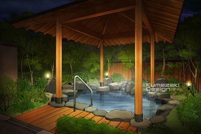 温泉旅館 露天風呂 貸切露天風呂 外観パース イラスト 手書きパース 手描きパース フォトショップ