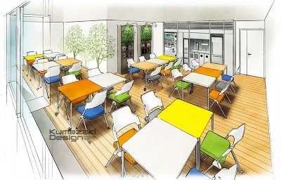 オフィスビル リラックスルーム リフレッシュルーム 休憩室 イメージパース 内観パース インナーパース 鳥瞰パース 完成予想図 手書きパース 手描きパース フォトショップ着色 photpshop