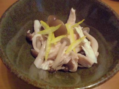 11.19鶏胸肉とシメジの柚子香和え