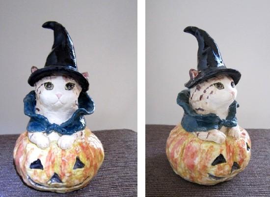 ハロウィーン猫の陶人形-すず音窯#めいこ