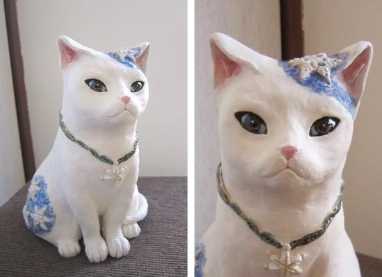 おしゃれな雪猫#陶器の猫置物#めいこ#すず音窯#陶芸