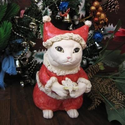 かわいい猫のサンタ-すず音窯-陶器の置物#陶芸作家めいこ