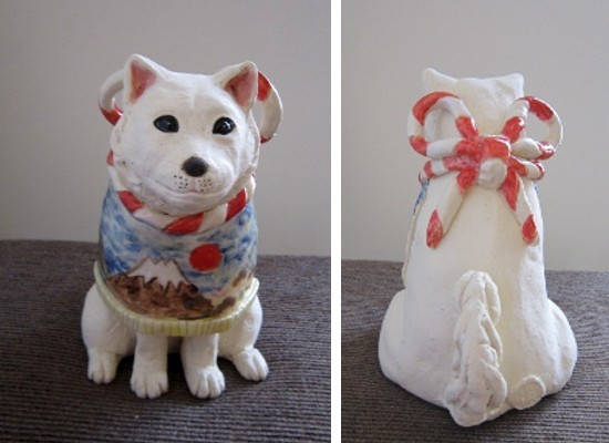 干支の陶器 犬の置物
