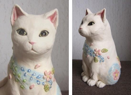 桜辻が花の白猫-すず音窯-陶器の置物#陶芸作家めいこ