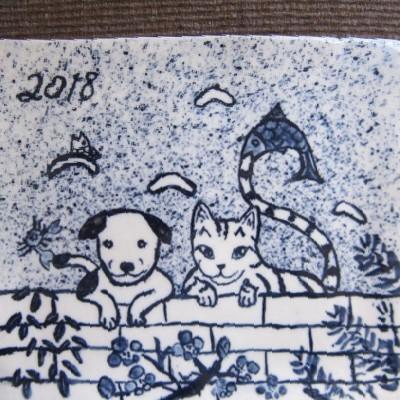 イヤーズプレート2018年戌年#すず音窯#陶芸 めいこ#かわいい絵皿