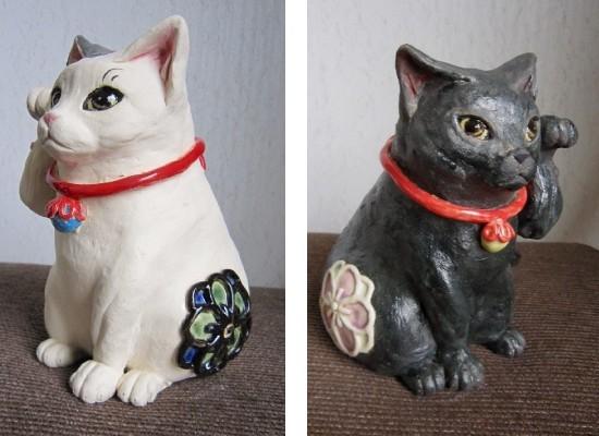 梅の模様の招き猫おしゃれな白と黒#まねき猫#陶芸作家#めいこ#すず音窯