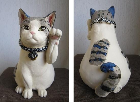 おしゃれな招き猫#陶器の猫置物#すず音窯