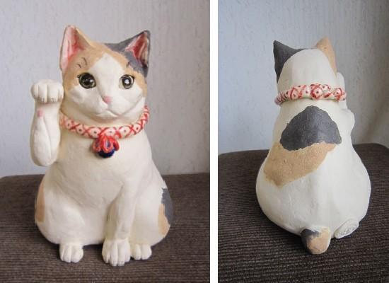 三毛猫まねきねこ-すず音窯-陶器の置物