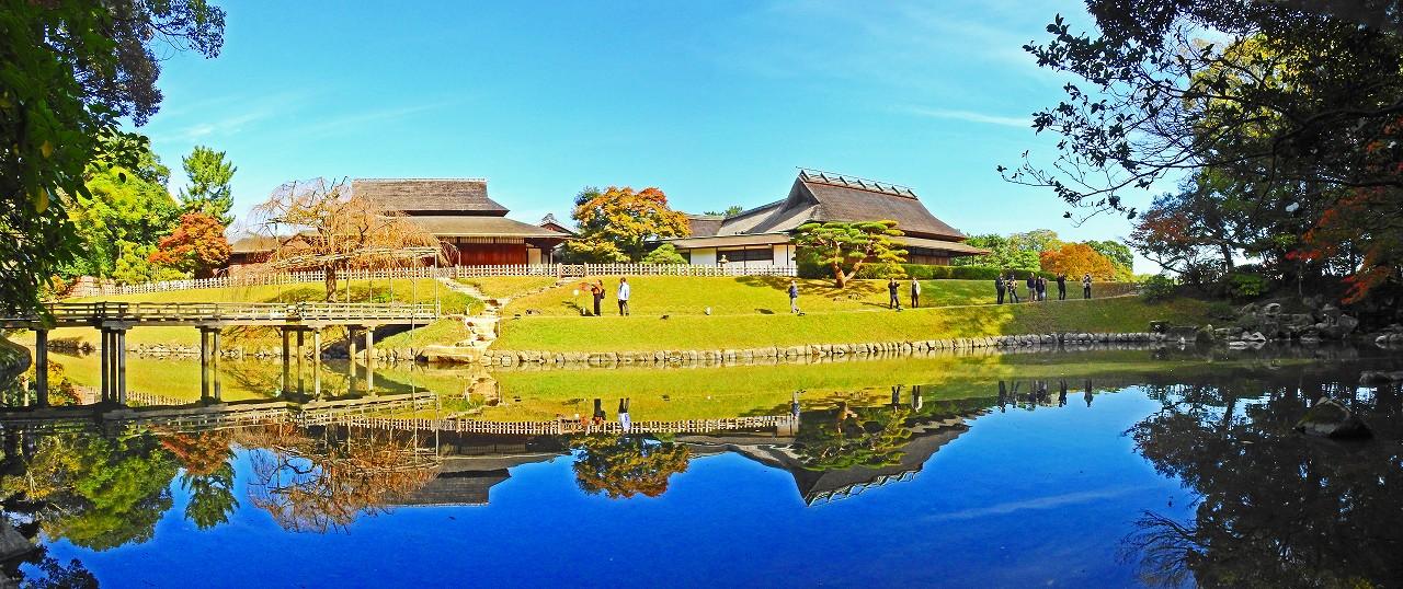 20171113 後楽園今日の園内花葉の池のワイド風景 (1)