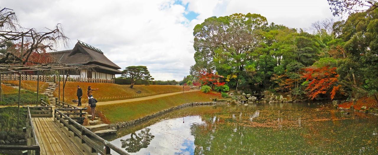 20171205 後楽園今日の園内花葉の池の紅葉名残のワイド風景 (1)