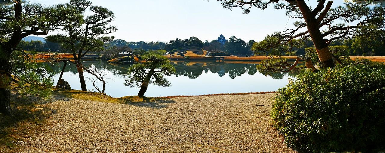 20171222 後楽園今日の観光定番位置から眺めた冬至の日の穏やかな園内ワイド風景 (1)