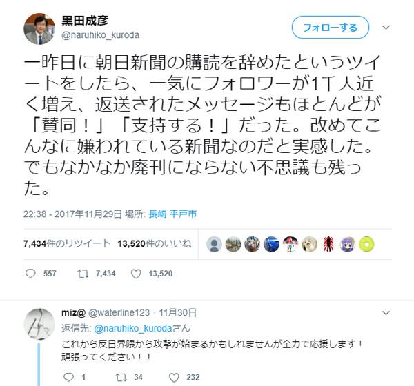 黒田成彦・平戸市長のツイッター