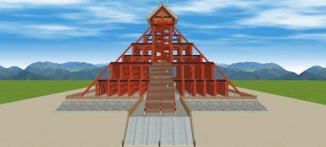 6古代出雲大社神殿正面俯瞰