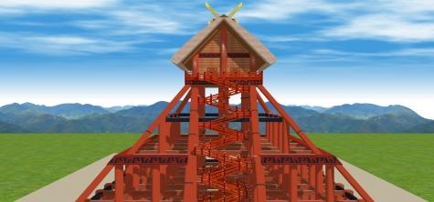 17古代出雲大社神殿を望む