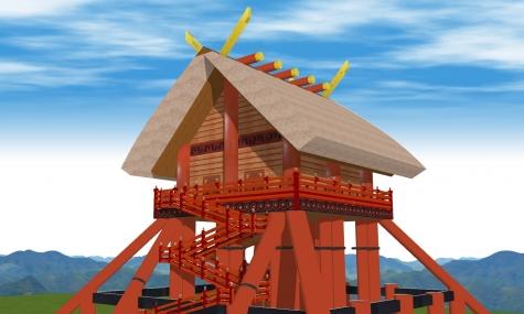 古代出雲大社神殿南東からアップ