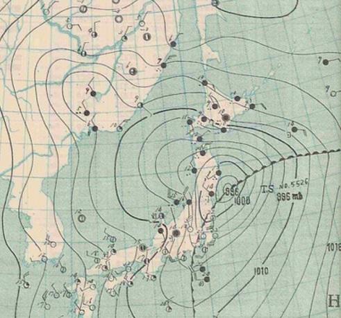 1955102021台風26号天気図拡大