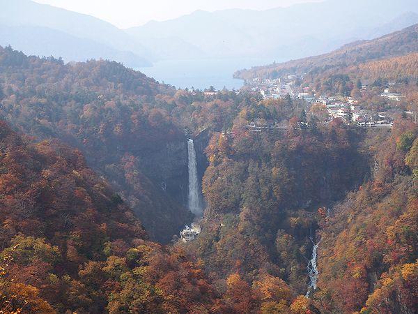 明智平展望台より華厳の滝