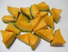 かぼちゃインゲン 調理①