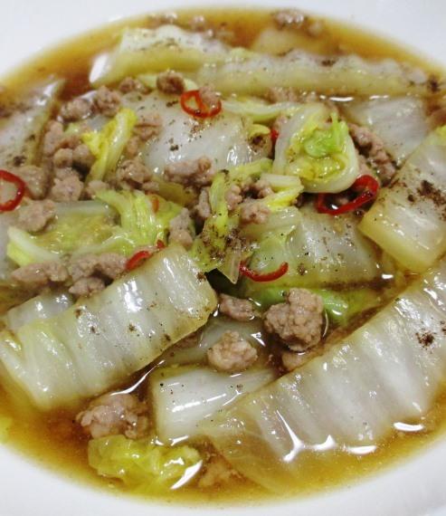 白菜と豚ひき肉のピリ辛煮 B