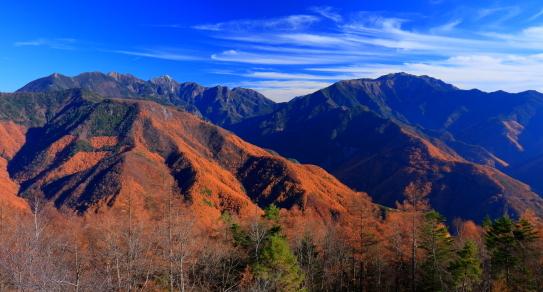初冬の東駒ヶ岳と仙丈ヶ岳