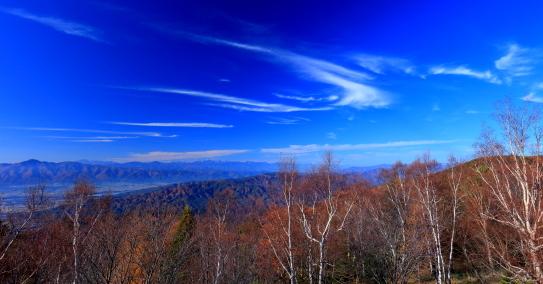 青空の雲と北アルプス