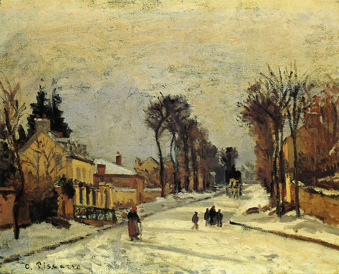 ルーヴシエンヌのヴェルサイユ街道 雪の効果 ピサロ