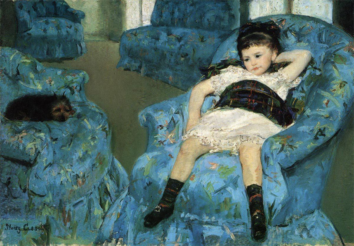 青い肘掛け椅子の上の少女 メアリー カサット