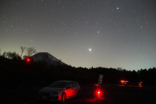 昇る火星と木星at朝霧_20171219