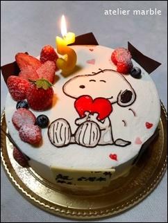 お絵描きケーキ スヌーピー