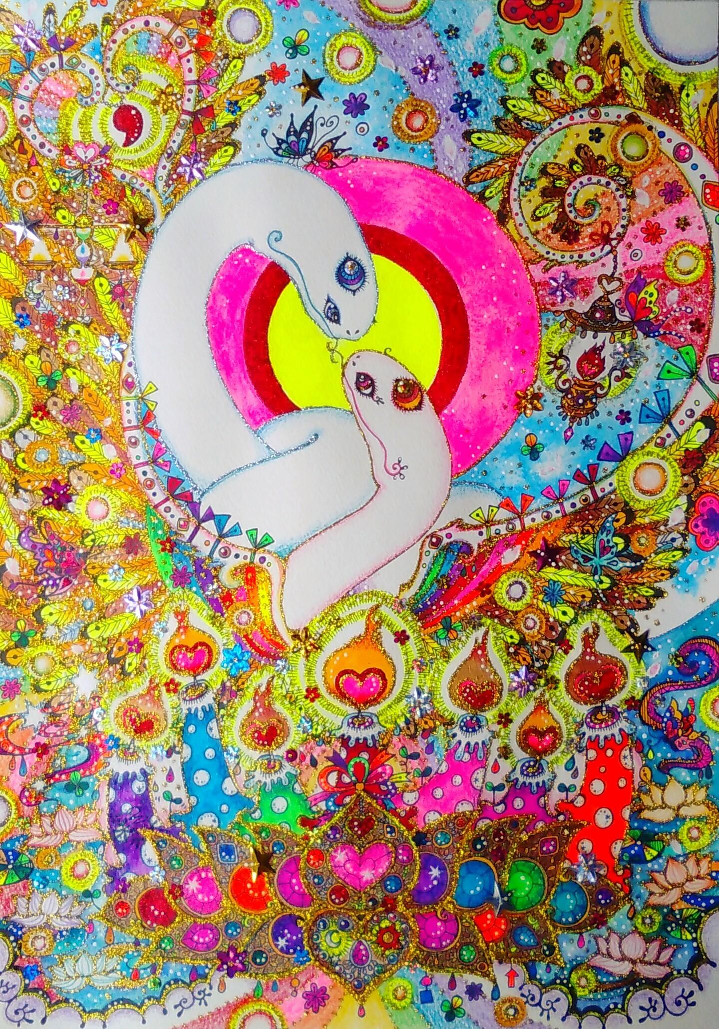 白蛇 完成 オーダーアート