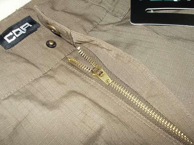 CQR メンズ 作業着 タクティカルパンツ ロングパンツ カーゴパンツ TLP104-TDR(ツンドラ) 32W 32L、ブラス(黄銅・真鍮)ファスナー・ジッパー 3段階に取っ手が固定可能