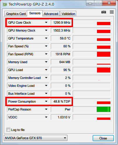 NVIDIA Inspector で GTX970 フルロード(P0)時の設定を、Base Clock Offset 0 Mhz、Power and Temperature Target (Power Target、Power Limit) 50%にした場合、GPU-Z NVIDIA GeForce GTX970 の GPU Core Clock (Boost Clock) は 1300MHz 以下、Power Consumption は 50% TDP までとなる
