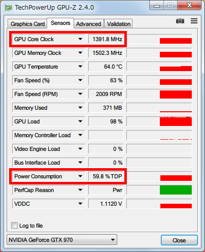 NVIDIA Inspector で GTX970 フルロード(P0)時の設定を、Base Clock Offset 0 Mhz、Power and Temperature Target (Power Target、Power Limit) 60%にした場合、GPU-Z NVIDIA GeForce GTX970 の GPU Core Clock (Boost Clock) は 1400MHz 以下、Power Consumption は 60% TDP までとなる
